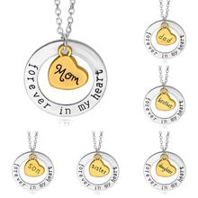 Family Jewelry Necklace Sliver Gold Two Tones Mom Dad Uncle Aunt Brother Sister Son Daughter Forever In My Heart Necklaces C5(China)