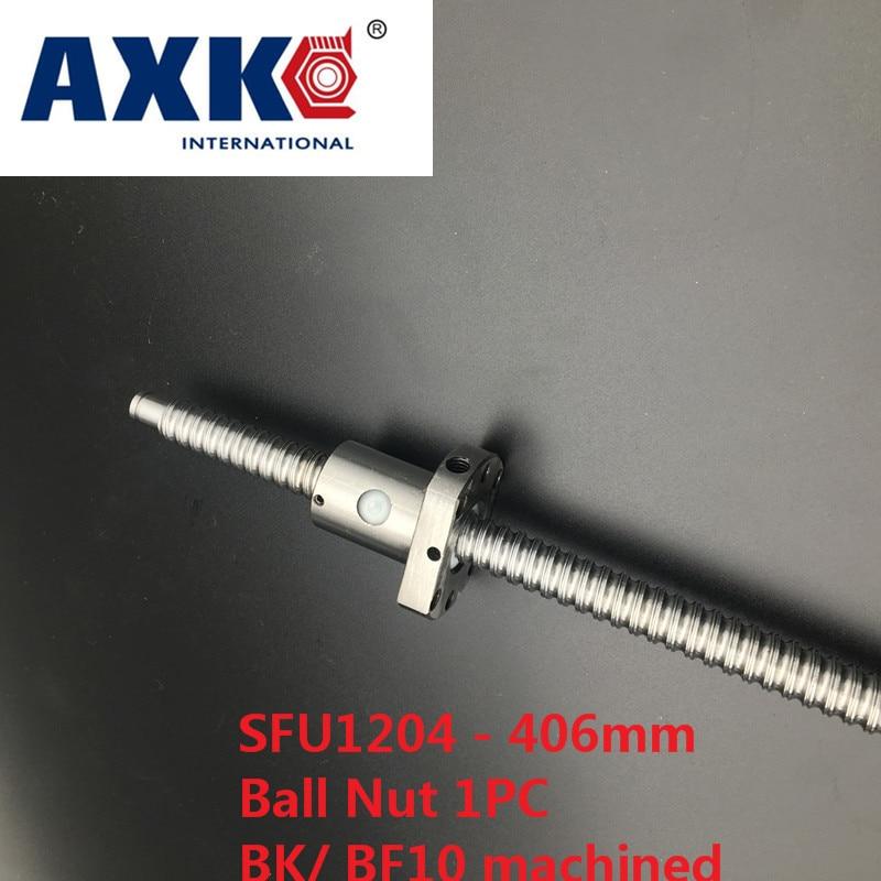 Axk Free Shipping 1pc Ball Screw Sfu1204 - L 406mm+ 1pc Rm1204 Ballscrew Ball Nut With Standard Processing For Bk10 / Bf10<br>