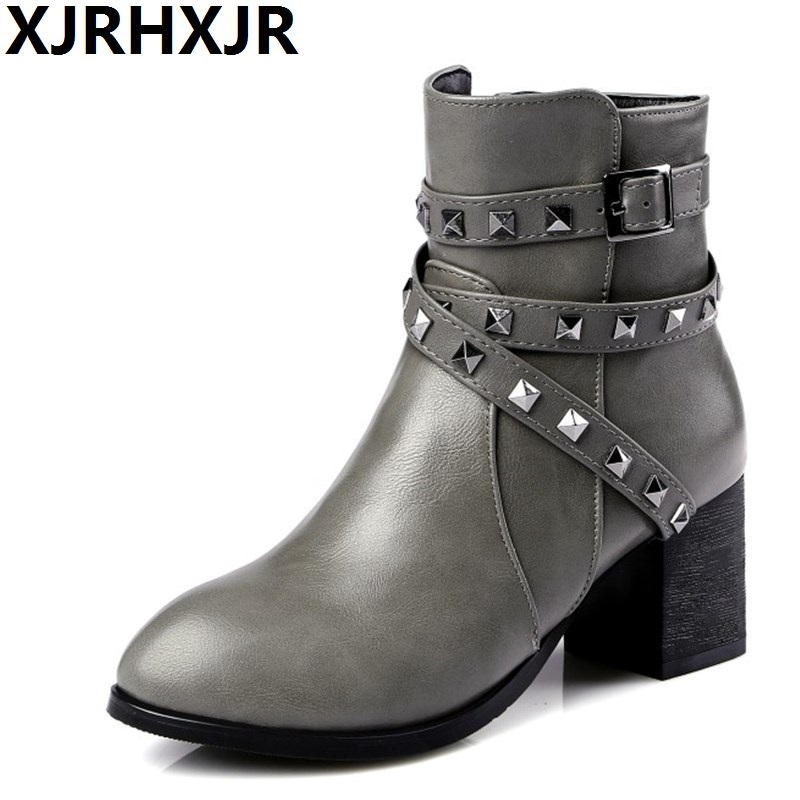 XJRHXJR Large Size 30-48 Women Shoes Fashion Rivets Martin Boots Ladies Thick Heel Casual Ankle Boots Pointed Toe Woman Boots<br>