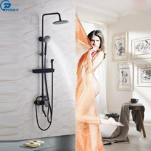 POIQIHY 8 Inch shower head ORB Bath & Shower Faucet Wall Mounted Cold and Hot Water Mixer Faucet Tub Filler Faucet