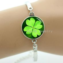 Four leaf clover bracelet pretty flowers charming plant jewelry green of life symbol of luck romantic women gifts -1197