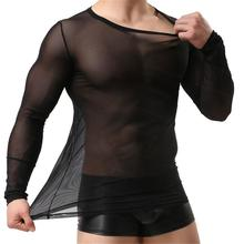 Special Customize!Sheer Tops Tees Underwear Undershirts See Through Long Sleeve Shirt Sexy Women&Men's Mesh Sexy Sleepwear