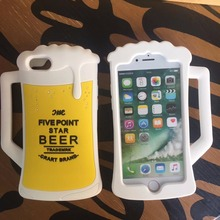Luxury 3D Beer&Coffee CUP Soft Silicone&Plastic Mobile Phone Cases For iPhone7 7Plus 8 8Plus X 6 6Plus Coque Funda Back Covers(China)