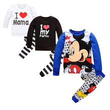 Children Mickey Minnie Pajamas Sets Baby Girls Boys 2-7years 10 Colors 100% Cotton Pyjamas T-shirt Pants 2pcs Kids Clothing Suit(China)