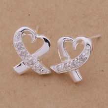 OL Style Stud Earrings Silver Heart CZ Nice  Earrings Ladies Accessory AE150