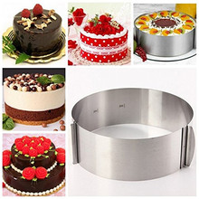 16-30cm Retractable Stainless Steel Circle Mousse Ring Baking Tool Set Cake Mould Mold Adjustable Bakeware Kitchen Accessories