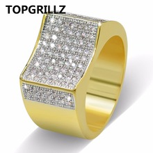 TOPGRILLZ Hip Hop Ring Bling CZ Stones All Iced Out Micro Pave Gold Silver Plated Full Iced Out Mens Rings Punk Fashion Jewelry