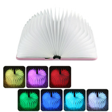 New Novelty Folding LED Nightlight Creative LED Book Light Lamp Best Home USB Rechargeable Lamps(China)