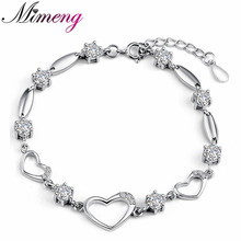Buy AAA 100% Sterling Silver 925 Jewelry Heart-shaped Bracelet Female Bracelet Genuine Top Quality!! Free for $8.16 in AliExpress store