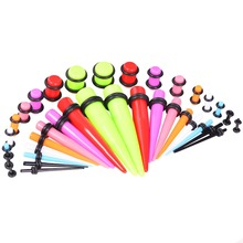 18pairs Ear Tunnels Plugs Mix Color Acrylic Tapers & Colors Acrylic Ear Studs All 14G - 00G Stretching Kit Body Piercing Jewelry