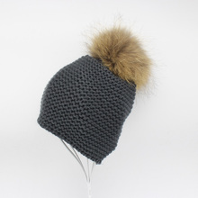 2016 Fashion Knitted Baby Hats Boy Winter Outdoor Ear Protection Beanies Caps Pom pom Real Fur Hat Kids