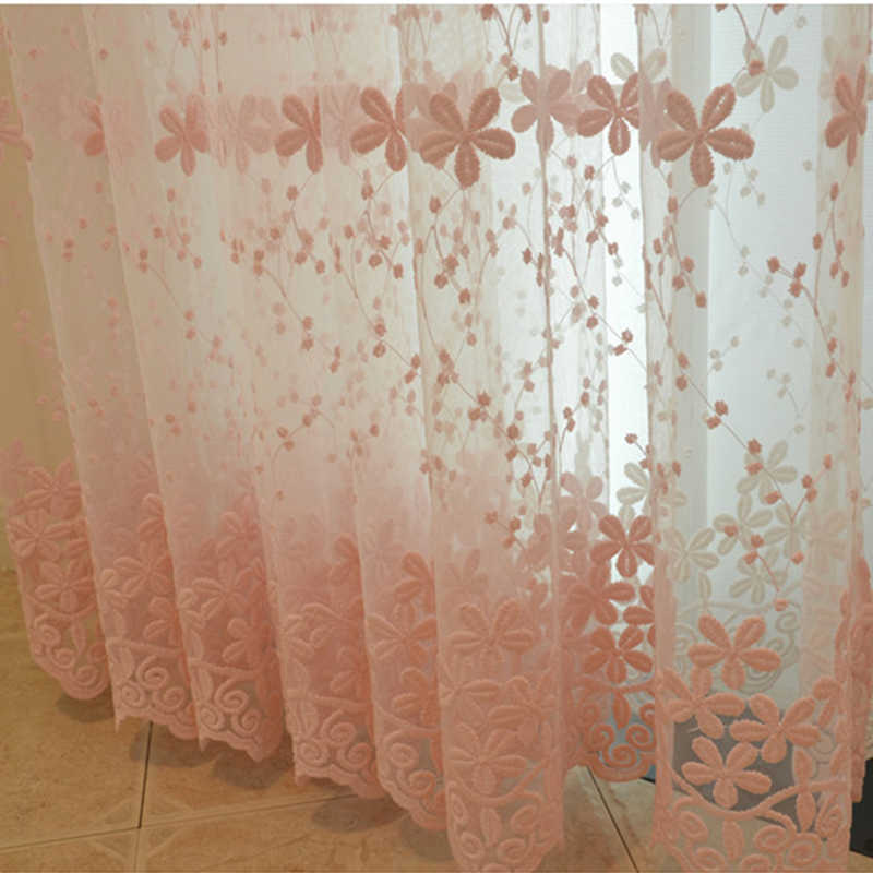 Modern Curtains Window Treatments Sheer Embroidery Flowers Lace Finished Curtains For Living Luxury Tulle Children Room Bedroom