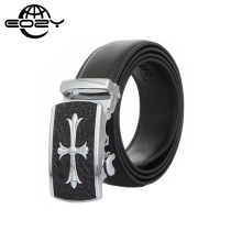 Classic Cross Aluminum Alloy Automatic Buckle Leather Belt Man Business Formal Black Cowskin Belts Men High Quality 120/125cm