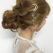 New Women Sweet Japanese Style Moon Dream Crystal Tassels Hairpin Vintage Rhinestones Hair Clip Lovely Girl Hair Accessories(China)
