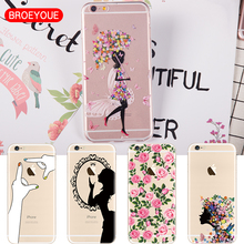 Phone Cases For iPhone 6 6S 7 Plus 5 5S 5 SE Silicone Soft TPU 2017 Hot Sell New Animals Cartoon Flower Cat fundas capa Bags