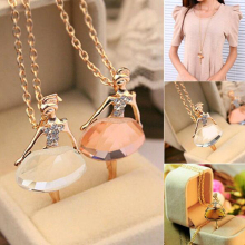 Tomtosh Lowest whole network, New fashion girls Ballet Girl Chic pendant choker necklace Bib crystal jewelry party