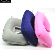 U-Shape travel pillow care neck flocking comfortable pillow for office car blue pink gray(China)