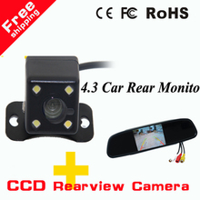 "2 in 1 car parking system HD CCD rear view Camera + Auto Parking back up camera + 4.3"" HD Digital Car Mirror Monitor(China)"
