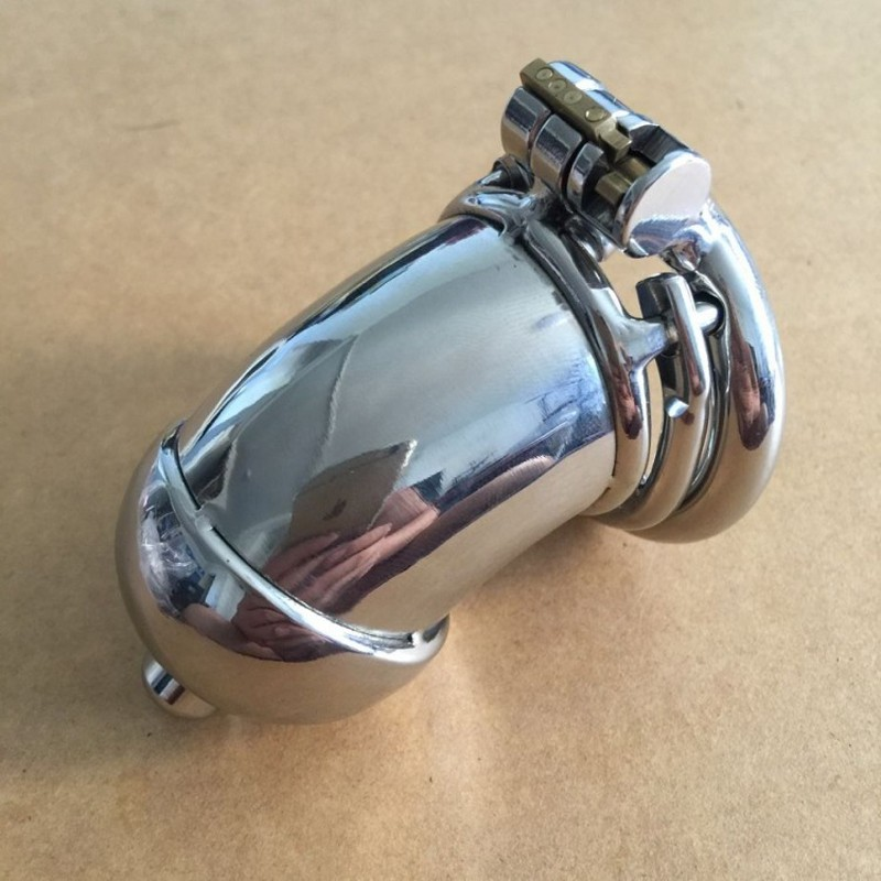 stainless steel male chastity device penis sleeve bdsm men lock bondage cock cage with anti-off ring cb6000s devices<br>