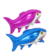 2pcs/lot 85*49cm bule and rose red shark foil balloons helium balloons big animal shaped balloons(China)