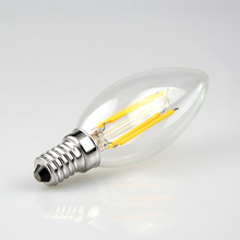 1Pcs AC110V 220V 2W 4W Soft light Enough Watt  LED Filament Retro Edison Candle lamp E14 COB Eyesight Protection LED Glass Bulb