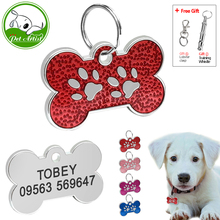 Customized Engraved Dog Cat ID Tag Personalized Bone Shape Paw Print Pet NamePlate Puppy Dogs Name Phone No. Tags Free Whistle(China)