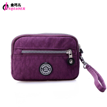 JINQIAOER Brand Women Handbag With Wristlets Waterproof Nylon Day Clutches Bag Sunglasses Coin Holder Pouch Mini Bag For Women