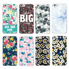 2017 Floral Flowers Rose Daisy Cherry Blossom Trendy Fashion Cute Soft TPU Printed for iphone 4S 5S 5C SE 6S 7 PLUS Samsung S3