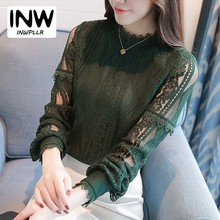 2017 New Arrival Women Tops Fashion Green Lace Blouse Autumn Long Sleeve Plus Size Shirts Hollow Out Renda Blusas Femininas