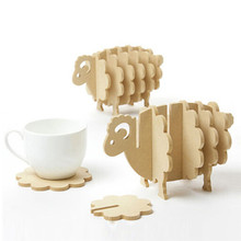 Coasters Mini Place Mat/Coffee Cup Mat Home Decor DIY Handmade Coaster Simple Sheep Shape Wood Table Mat Bar Tool IC880558