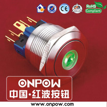 ONPOW 22mm stainless steel momentary dot illuminated pushbutton switch anti-vandal GQ22-11D/G/12V/S