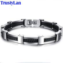 TrustyLan Fashion Hot Sales Men Jewelry Luxury Mens Stainless Steel Silicone Bracelets 2017 Button Snap Bracelets Bracciale Uomo