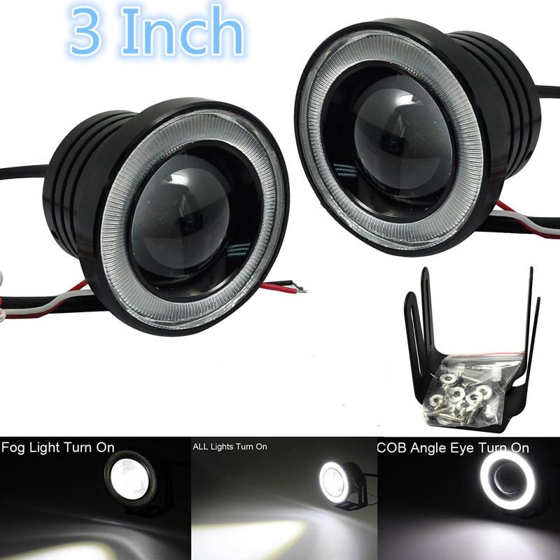 2Pcs 3 Car COB LED Fog Light Projector White Angel Eye Halo Ring DRL Driving Bulbs<br><br>Aliexpress