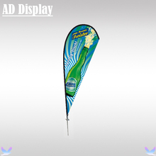 350cm Outdoor Advertising Display Single Sided Teardrop Banner Flying Beach Flag With Spike Ground Base