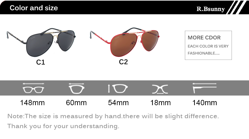 Fashion women sunglasses High quality classic brand polarized HD men sunglasses Driving Anti-glare UV400 Goggle R.Bsunny R1616 3