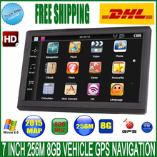 7 inch Car GPS Navigation HD screen FM 8GB DDR 256M WinCE 6.0 Map For Europe/USA+Canada Truck MTK MS2531 vehicle gps Navigator(China)