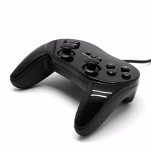 New 1x Wired Classic Controller Grip Gamepad Black For Nintendo Wii Game Remote