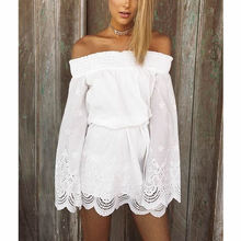 2017 Chiffon White off shoulder lace dress high waist sexy mini dress summer long sleeve Elegant ladies vestido beach dres party