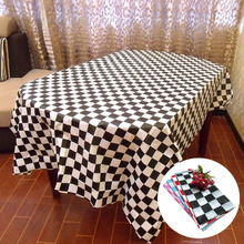 New Disposable Tablecloth Racing Flags Black And White Grid Thicken Plastic Tablecloth Decorative Table Cloth Table Cover F2K