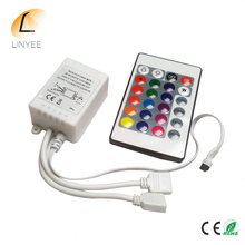 NEW 2017 LED RGB Controller DC12V 24 Key Double Output IR Remote Controller for LED RGB strip.
