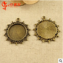 A3572 Free Shipping 25pcs/bag  fittings 25mm colour bronze round Antique diy pendant Jewelry findings for chain  accessories
