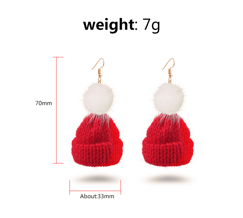Pom Pom & Cotton Hat Pendants Drop Earrings