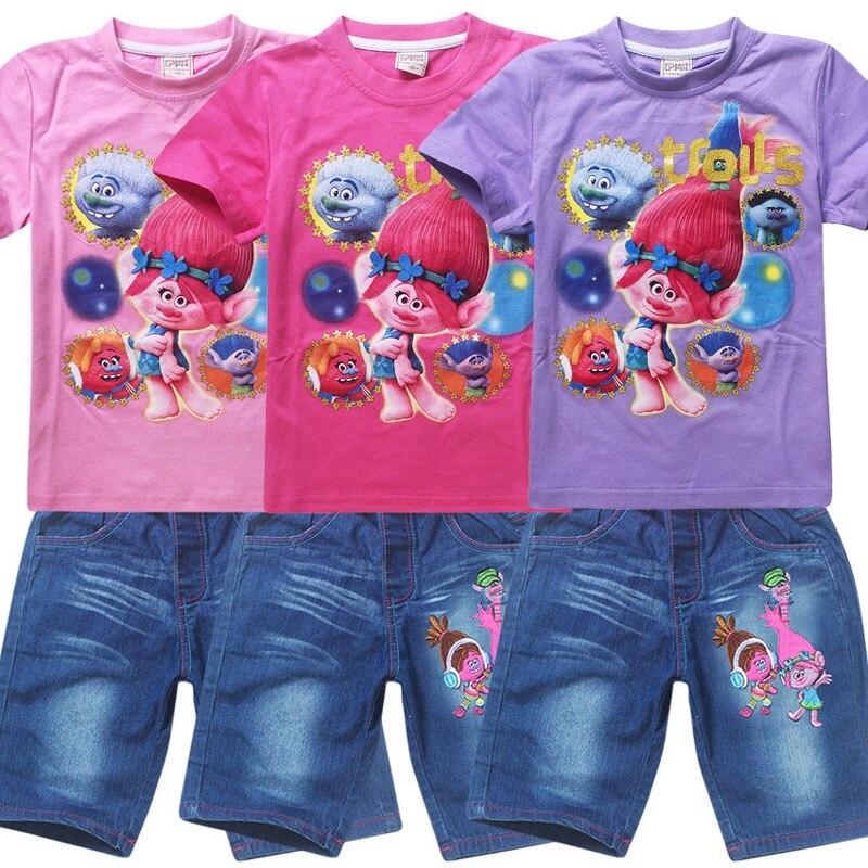 2017 Newest Summer Children clothing Suit Girls Trolls cartoon clothes set kids casual set short sleeve T-shirt and jean shorts<br><br>Aliexpress