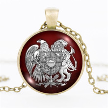 Vintage Bronze Chain Necklaces Men's Jewelry Red Eagle Lion Art Picture Cabochon Glass Necklaces & Pendants For Women Jewelry