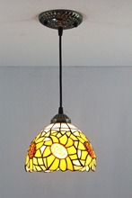 European creative Garden yellow sunflowers Restaurant Art lighting Bar terrace Tiffany Stained glass decorate Pendant lamps(China)