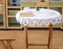 Modern DIY crochet white table cloth towel cover Christmas Placemat lace cotton round tea kitchen tablecloth for wedding decor
