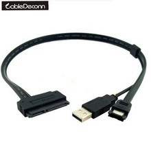 "CableDeconn 2.5"" HDD Hard Disk Drive SATA 22p to ESATA Data USB Power Splitter Cable Durable"
