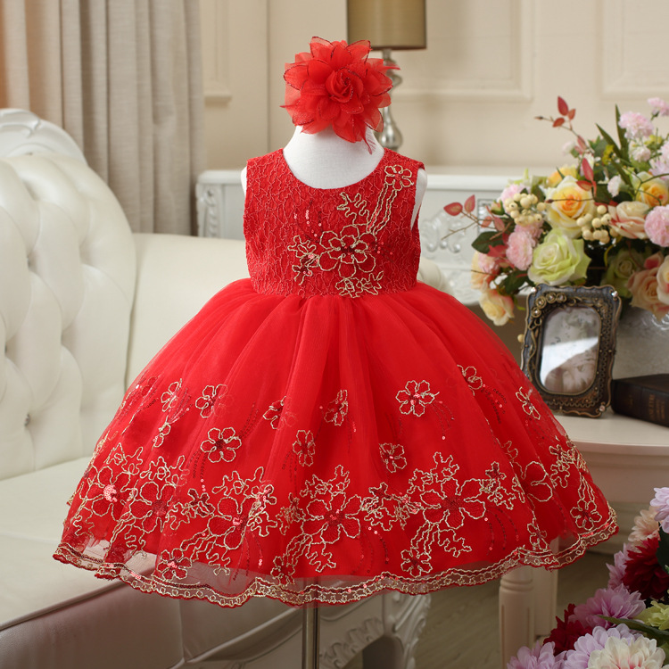 Korean Europe and The United States Girls Sleeveless Children Net Yarn Embroidered Sweet Princess Dress Kids Clothing Red Purple<br>