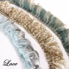 3 Colors Decorative Satin Voile Lace for Table cloth Sofa Cover Cushion Fringes Dress Home Decorative Accessories Sell by bale
