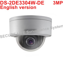 English version DS-2DE3304W-DE 3MP network mini PTZ camera POE 4X optical zoom 2.8-12mm IP CCTV camera